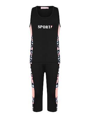 Girls Sports Vest Tank Top Neon Camouflage Striped Leggings Yoga Set 3-14 Years 4