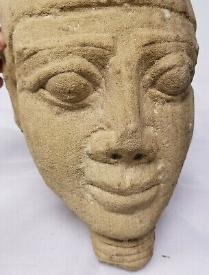 Antique Egyptian Style Carved Pharoah Head Sandstone Ancient Alien Antiquity 4