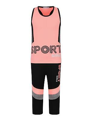 Girls Sports Vest Tank Top Neon Camouflage Striped Leggings Yoga Set 3-14 Years 3