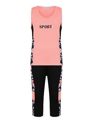 Girls Sports Vest Tank Top Neon Camouflage Striped Leggings Yoga Set 3-14 Years 5