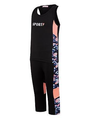 Girls Sports Vest Tank Top Neon Camouflage Striped Leggings Yoga Set 3-14 Years 6