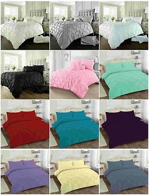 Alford / Pin tuck Duvet Cover with Pillowcase Quilt Cover Bedding Set,All Size