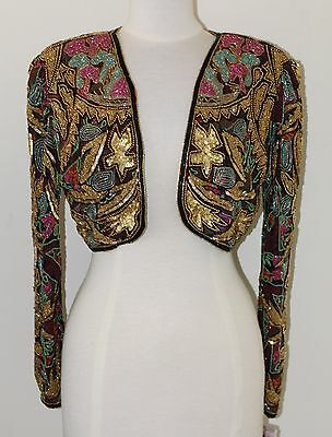 Jasdee Vintage Beaded Bolero Jacket Hand Work & Hand Print On Silk Style 5040 2