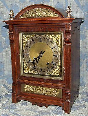 Antique Oak & Brass TING TANG Bracket Mantel Clock WINTERHALDER HOFFMEIER W & H 2