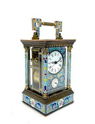 French Style Floral Turquoise Enamel Brass Case 8 Day Repeater Carriage Clock 3