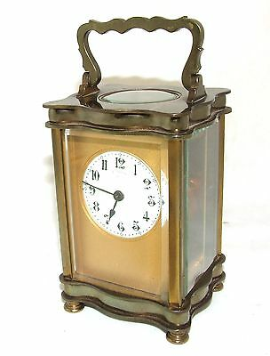 Antique French Bronzed Finish Brass Carriage Clock with Key : Working Order (31) 2