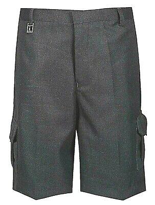 Boys School Cargo Shorts Grey Black Ages 2-16 Years Elastic Waist 2