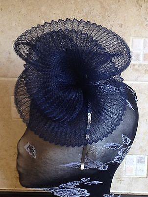 Navy dark blue fascinator millinery burlesque wedding hat hair ascot race 3