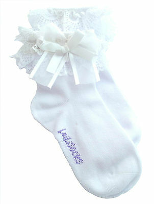 2 Pairs Girls Kids Toddlers White Black Blue Pink Lace Trim Frilly School Socks 2