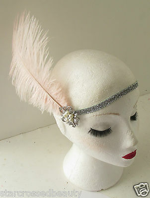 Pink Silver Ostrich Feather Flapper Headpiece 1920s Vintage Headband Pearl k66 7
