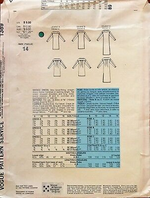 1970's VTG VOGUE Misses' Dress Geoffrey Beene Pattern 1389 Size 14 UNCUT 2