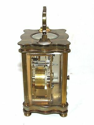 Antique French Bronzed Finish Brass Carriage Clock with Key : Working Order (31) 7