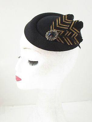 Black Gold Feather Pillbox Hat Fascinator Vintage Races Headpiece 1940s 20s 412 2