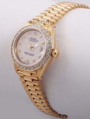Rolex Lady President 18k Yellow Gold 26mm Watch Ivory Arabic Dial Diamond Bezel