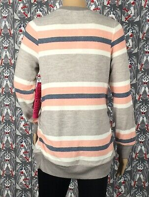 NWT Two Hearts Maternity Women's Multicolored Striped Sweater Top Size Large 3