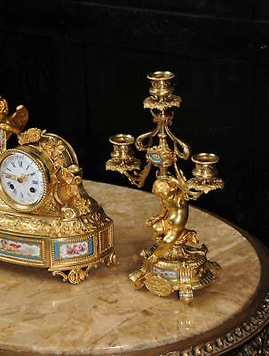 Japy Freres ~ Early French Ormolu And Sevres Porcelain Clock Set C1850 ~ Cherubs 9