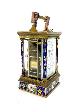 French Style Floral Blue Enamel Brass 8 Day Repeater Calendar Carriage Clock 3