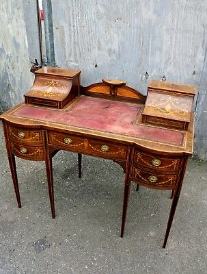 A lovely English Rosewood & Satinwood Marquetry Inlaid Writing Desk 3