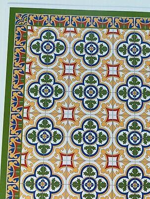 Dollhouse Miniature Victorian Tile Large Flooring Sheet Card Stock 1:12 Scale 2