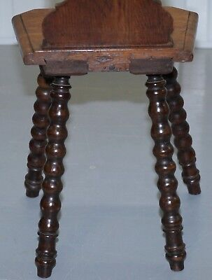 Rare 19Th Century Black Forrest Carved Hall Chair Hand Carved Hawk Bobbin Turned 10