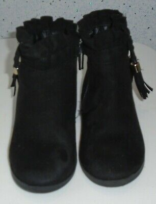 Young Girls River Island Boots Uk 7 Eur 23 Black Suede Tassles Bows Zips 2
