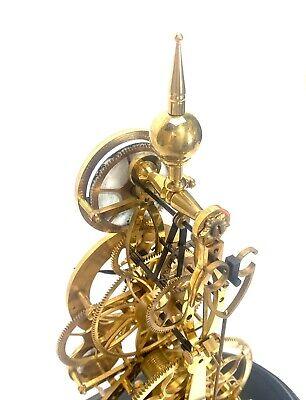 24K Vienna Style Pinwheel Moon Dial Calendar 8 Day Fusee Chain Skeleton Clock 6
