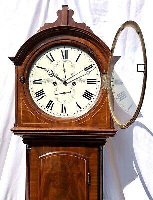 ~ Antique Inlaid Mahogany Longcase Grandfather Library Clock : DARLING EDINBURGH 5