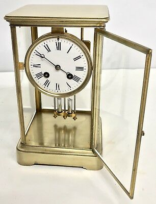 Antique Four Glass Brass Striking Bracket Mantel Clock Brass Japy Freres