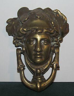 Large Brass Figural Antique Door Knocker-Mythical Figure Head 3