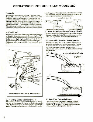 FOLEY BELSAW MODEL 387 Saw Filer Operator Parts Manual 1111