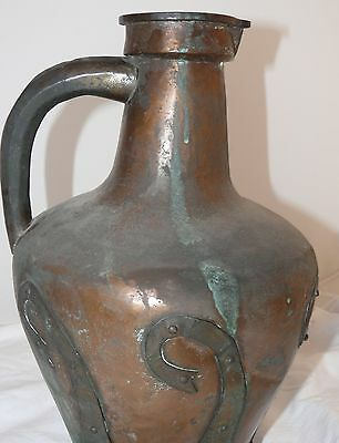 1800's Antique Russian Hammered Brass And Copper Stamped Signed Carafe Pitcher 5