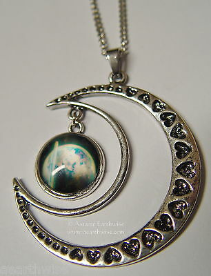 CRESCENT MOON WITH GLASS GALAXY CABOCHON PENDANT G Wicca Witch Pagan Goth