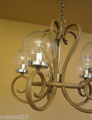 Vintage Lighting 1970s Mod bentwood style chandelier   Remarkable 3