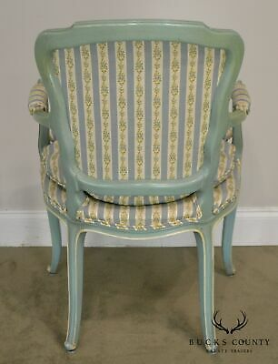 French Louis XV Style Vintage 1960's Custom Painted Pair Armchairs 6