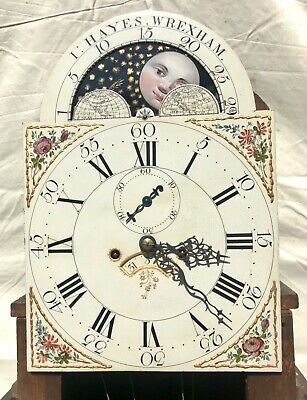 Antique Rolling Moon Phase Oak Mahogany Longcase Grandfather Clock HAYES WREXHAM 7