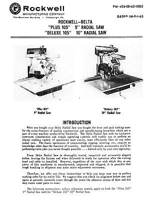 """ROCKWELL-Delta 10/"""" Deluxe Radial Arm Saw Owner/'s /& Parts Manual 0801"""