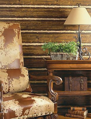 Puffy Log Cabin Textured Brown Wood Paneling Wallpaper TLL41382