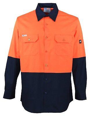 5 x Hi Vis Work Shirt vented cotton drill long sleeve SAFETY WORKWEAR UNIFORM 3