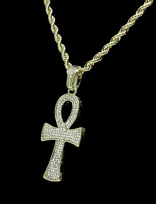 """Icy Ankh Pendant 14k Gold Plated Cz w/ 24"""" Rope Chain Hip Hop Necklace 4"""