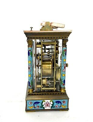 French Style Floral Turquoise Enamel Brass Case 8 Day Repeater Carriage Clock 5
