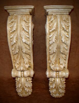 Antique Finish Shelf Acanthus leaf Wall Corbel Sconce Bracket Home Decor Pair 4