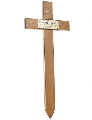 "24"" Carved Heart Oak Cross Memorial Grave Marker Custom Engraved Plaque Included 2"