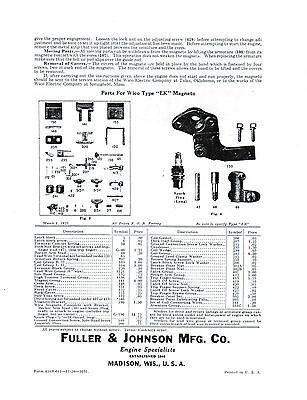 Fuller & Johnson FJ Gas Engine Motor Type NB manual book hit miss 2HP Parts List 2