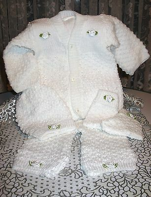 SWEET Knit Baby Doll Outfit For Reborn Infant Newborn WHITE 2