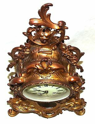 French Antique Louis XV Style Ormolu Bronze Mantel Bracket Clock c1880 9