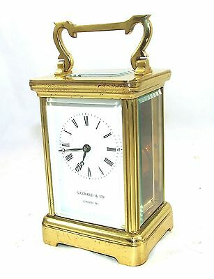 ENGLISH GARRARD & CO LONDON W1 Brass Carriage Mantel Clock & Key : Working (58) 3