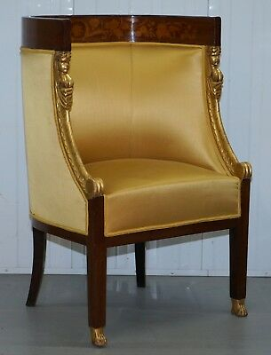 1870 French Empire Marquetry Inlaid Suite Pair Berger Armchairs & Settee Canape 3