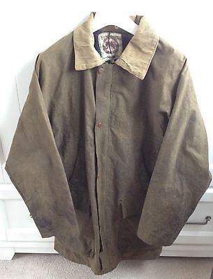 Stroller Classic Olive Green Waxed Cotton Jacket Tartan Plaid Lining Men's XL