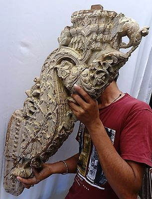 Bracket Wooden Carved Corbel Indian Vintage Mughal Art Architectural Collectible 12