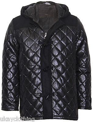 Men S Hooded Diamond Quilted Duffle Coat Jacket 19 53
